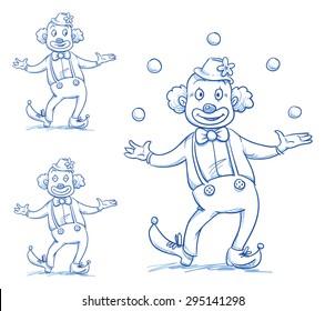 Cute happy circus clown juggling balls over his head. Hand drawn doodle vector illustration.