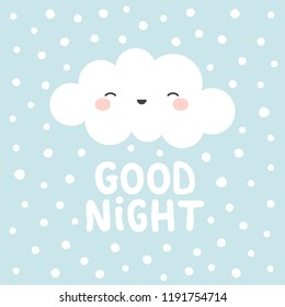 Cute Happy Cloud with Rain Drops, Print or Icon Vector Illustration, good night text