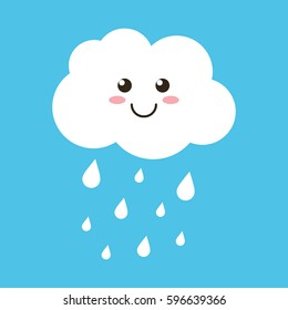 Cute happy cloud with rain drops, spring or autumn weather icon on blue background.
