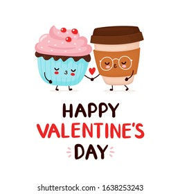 Cute happy coffee and cupcake couple. Happy Valentine's Day card.Vector flat cartoon character illustration icon design.Isolated on white background. Cupcake and coffee in love dessert menu concept