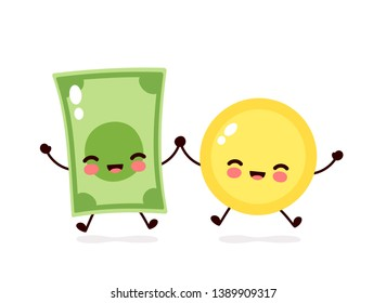 Cute happy coin and money banknote jump character. Vector flat cartoon character illustration icon design. Isolated on white background. Coin,bill,dollar concept