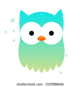 Cute happy colored kawaii owl with big open eyes, smiles, flaps its wings. Vector flat icon, logo, owlet sticker. Children's cartoon illustration of a forest bird, chick isolated on a white background