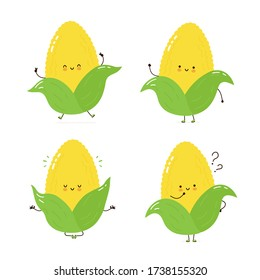 Cute happy corn character set collection. Isolated on white background. Vector cartoon character illustration