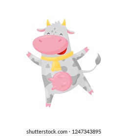 Cute happy cow with golden bell having fun, funny farm animal cartoon character vector Illustration on a white background