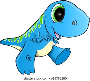 Cute Happy Dinosaur Vector Illustration Art