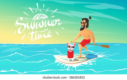 Cute happy dog with hipster are swimming on surfboard together in the ocean.Friendship between human and animal.Summer adventure. Cartoon vector illustration