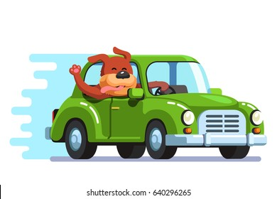 Cute happy dog riding retro passenger car having fun. Pooch diving and catching wind with sticking out head, face, waving tongue & paw. Flat style vector illustration isolated on white background.