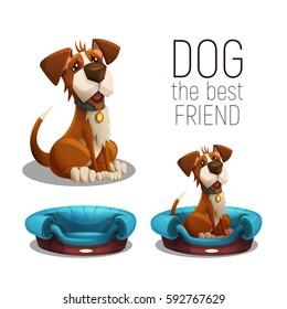 Cute happy dog sitting on dog bed isolated on white background. Vector illustration.