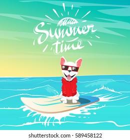 Cute happy dog in sunglasses swimming on surfboard at the ocean.Summer adventure. Cartoon vector illustration