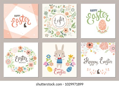 Cute Happy Easter templates with eggs, flowers,floral wreath,rabbit and typographic design. Vector illustration.