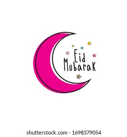 Cute Happy Eid Mubarak With Moon Stars Design