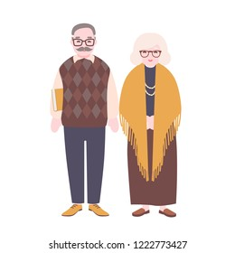 Cute happy elderly couple isolated on white background. Smiling old man and woman wearing glasses. Grandfather and grandmother standing together. Colorful vector illustration in flat cartoon style.