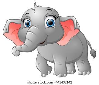 Cute happy elephant cartoon