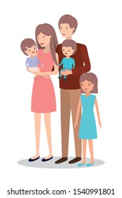 cute and happy family members characters vector illustration design