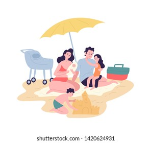 Cute happy family spending summer vacation at resort. Mother, father and children sunbathing and building sand castle on beach. Parents and kids having fun outdoors. Flat cartoon vector illustration.