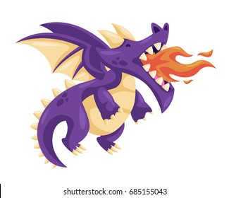 Cute Happy Flying Baby Dragon Illustration Blowing Fire