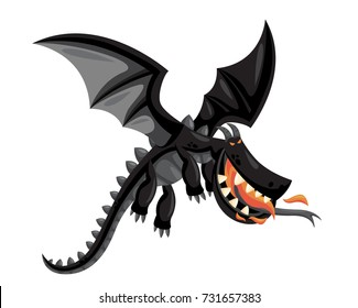 Cute Happy Flying Black Dragon Illustration