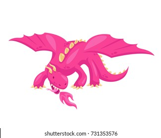 Cute Happy Flying Pink Dragon Illustration