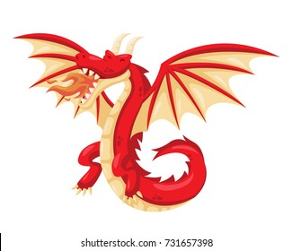 Cute Happy Flying Red Dragon Illustration