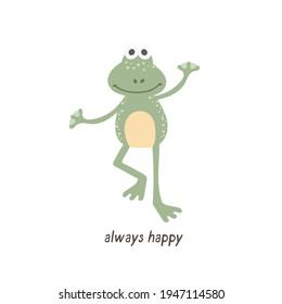 Cute happy Frog - Always happy. Digital illustration for kids