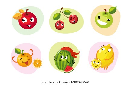Cute Happy Fruits Characters Set, Funny Mascots with Smiling Faces, Apple, Cherries, Orange, Watermelon, Lemon Vector Illustration