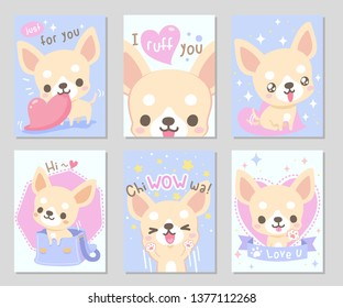 Cute happy funny chihuahua dog, light cream short hair in soft pastel color. Set of rectangle gift tag, card, postcard. Lovely, chiwawa wow! Vector illustration.