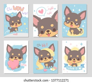 Cute happy funny chihuahua dog, chocolate brown long hair in soft color. Set of rectangle gift tag, card, postcard. Lovely, chiwawa wow! Vector illustration.