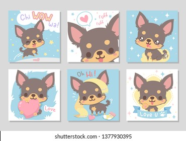 Cute happy funny chihuahua dog, chocolate brown long hair in soft color.  Set of square gift tag, card, badge.Lovely, chiwawa wow! Vector illustration.
