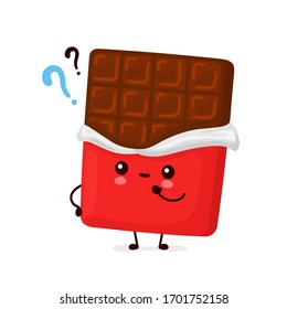 Cute happy funny chocolate bar. Vector cartoon character illustration icon design.Isolated on white background