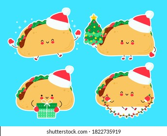 Cute happy funny christmas taco set collection. Vector cartoon character hand drawn style illustration. Christmas, New Year concept