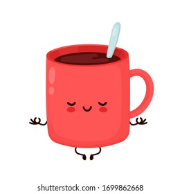 Cute happy funny coffee mug meditate. Vector cartoon character illustration icon design.Isolated on white background