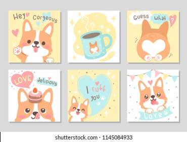 Cute happy funny corgi dog with yummy cup & cake full of love in soft pastel color. Set of square gift tag, card, badge. Lovely, valentine day. Vector illustration.