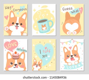 Cute happy funny corgi dog with yummy cup & cake full of love in soft pastel color. Set of rectangle gift tag, card, postcard. Lovely, valentine day. Vector illustration.