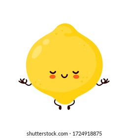 Cute happy funny lemon fruit meditate. Vector cartoon character illustration icon design.Isolated on white background