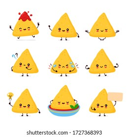 Cute happy funny nachos set collection. Vector cartoon character illustration icon design.Isolated on white background
