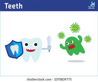 Cute happy funny smiling fighting tooth with caries.