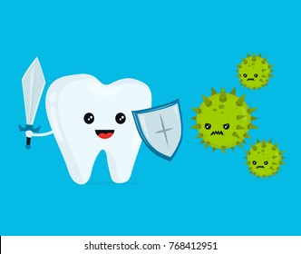 Cute happy funny smiling fighting tooth with caries. Disease battle. Tooth attacked by germs of cavities caries. Vector flat cartoon character illustration. Healthy teeth concept