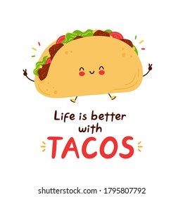 Cute happy funny taco. Isolated on white background. Vector cartoon character hand drawn style illustration. Cute smiling face mexican food taco. Cartoon vector card,logo,poster,t-shirt print