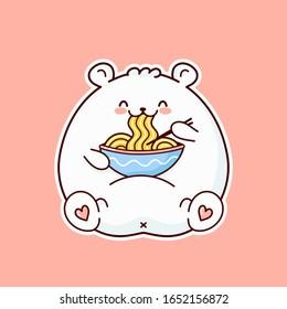 Cute happy funny white bear eat noodle from bowl. Vector flat cartoon kawaii character illustration icon design. Bear eat noodle, ramen logo concept