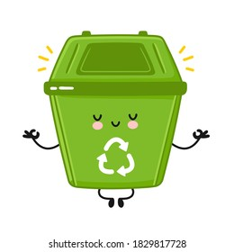 Cute happy garbage container meditate in yoga pose. Vector flat line cartoon kawaii character illustration icon. Isolated on white background. Recycle, trash bin concept