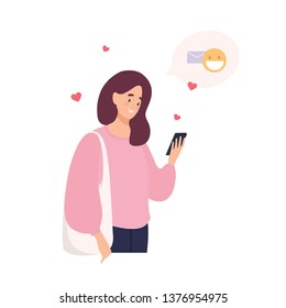 Cute happy girl holding cellphone, using mobile dating application to chat or sending romantic message. Woman with smartphone searching for romantic partner online. Flat cartoon vector illustration.