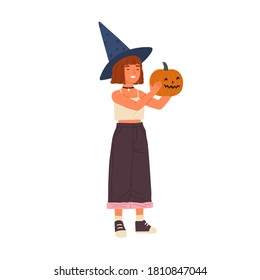 Cute happy girl wearing witch hat hold Halloween pumpkin. Funny portrait of joyful wizard showing jack o lantern. Flat vector cartoon childish illustration isolated on white background