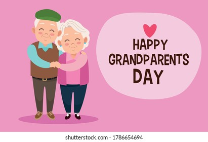 cute happy grandparents couple and lettering with heart vector illustration design