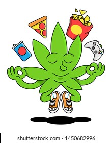 Cute happy green natural leaf of cannabis marijuana weed meditate in yoga pose enjoy with crisps, pizza, gaming console joystick and drink junk food modern illustration cartoon character emoji sticker