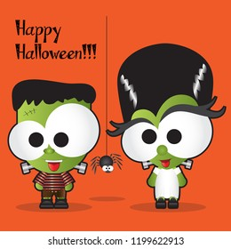 Cute Happy Halloween Background, Vector Illustration, Frankestein and Bride cartoon with big Googly Eyes