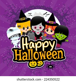 Cute Happy Halloween text banner with cartoon Children on a Purple Textured Banner with Vampires, Mummies, Witches, Spiders and Pumpkins.