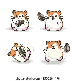 Cute happy hamster with orange color holding sun flower seed . vector hamster set. hamster cartoon illustration style