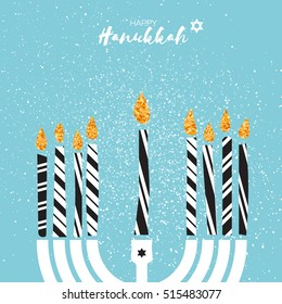 Cute Happy Hanukkah Greeting card with gold glitter elements.