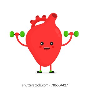 Cute happy healthy smiling heart organ doing exercises with dumbbells weights.Vector flat cartoon character illustration.Isolated on white background.Heart face,fitness exercise,sport,lifting concept