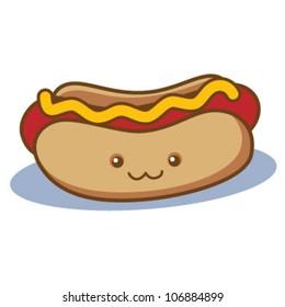 Cute Happy Hot Dog